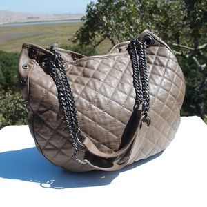 Paul & Joe Sister Taupe Quilted Satchel Hobo